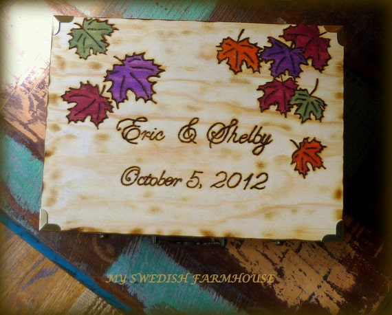 ALTERNATIVE Guest Book For 100 GUESTS Rustic Fall Wedding Well Wishes Book (DESIGN and CoLoR Leaves of Your Choice)
