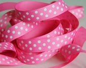 "5/8"" Grosgrain Dotted Ribbon Hot Pink - Full Spool - 25 yards"