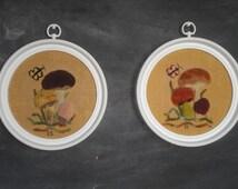 Pair of Framed Vintage Handmade Needlework Latch Hook Punch Needle Wall Hangings-Mushrooms-Butterflies-Nature-Set of Two-Retro