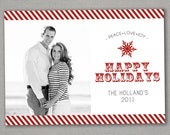 Christmas Card - Candy Cane - Red/White