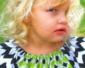 Girls Peasant Dress Chevron Lime sizes 6 months through 8 years