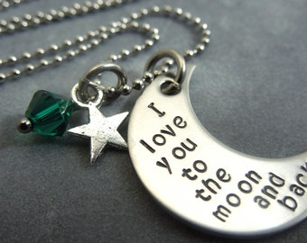I love you to the moon and back moon hand stamped stainless steel necklace