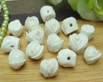 15 pcs Rose Ceramic 8mm,White /  White  Centre(FCN716R)