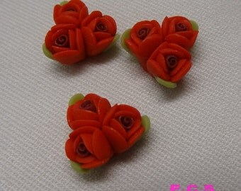 4pcs unique fimo rose flower,Scarlet
