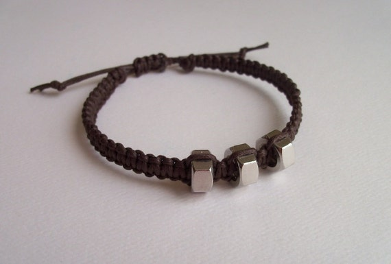 mens macrame bracelet s macrame and hex nut bracelet brown adjustable 3566
