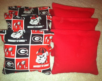 UGA University of Georgia Bulldogs Cornhole Bags Set of 8