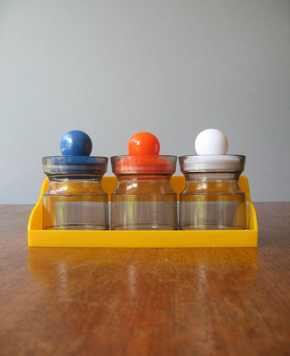 80's Mod Plastic Storage Jar / Shelf Set - RESERVED