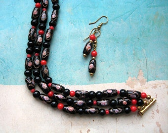 Black and red beaded cuff bracelet and matching earrings - romantic jewelry - multi strand bracelet - glass and coral beads