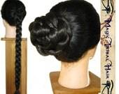 Plaited BRAID custom color HAIR BUN wig updo 20''/50cm long Fantasy fairy hairdo extension Hair Fall tribal belly dance Renaissance medieval
