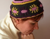 Hand Knit Hat - Joyful Topper, SunFlower Fez