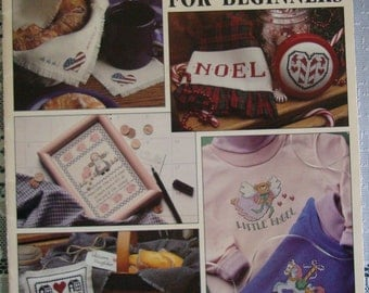 """Vintage 1991 Cross Stitch Pattern Leaflet """"Cross Stitch for Beginners"""" Used"""