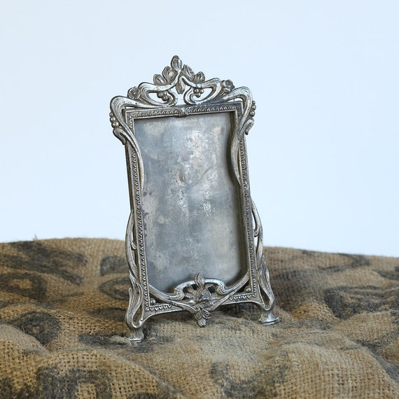 Vintage French Art Nouveau Small Picture or Photo Frame in Silver