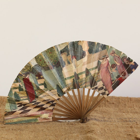 Beautiful Vintage French Hand Fan : Paris Perfume Adveritisng Impressionist Illustration Typography