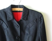 1940s Jacket // Charcoal Grey 1940s Blazer with Cherry Red Lining.