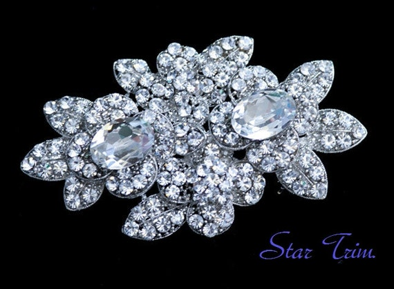 SALE Crystal wedding bridal flower brooch , head piece