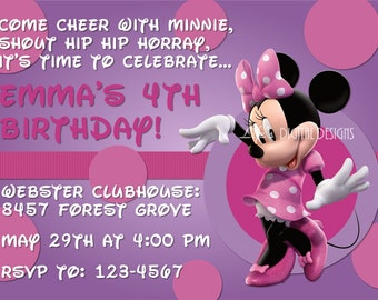Minnie Mouse Invitations Purple Dots Photo Option Customizable Printable