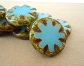 Czech Flat Round Blue Brown Picasso Carved Coins Beads - 3 Pieces
