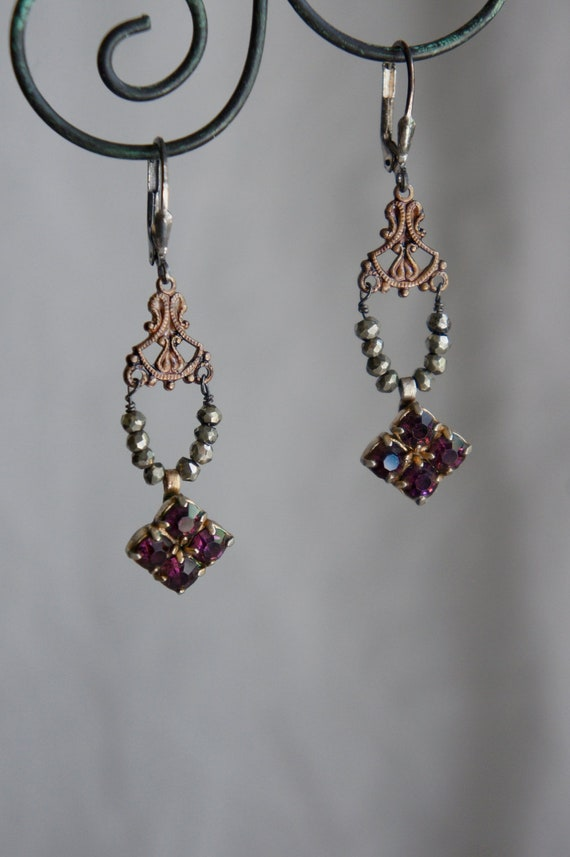 Vintage assemblage earrings pyrite beads amethyst jewelry findings assemblage jewelry - Splendor by French Feather Designs.