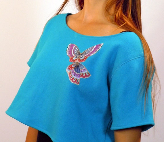 Butterfly Wings Sweatshirt - Upcycled 80's Shrug Style - Size L