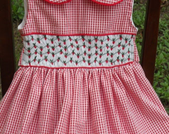 Size 5 Red and White Handsmocked Sleeveless Dress