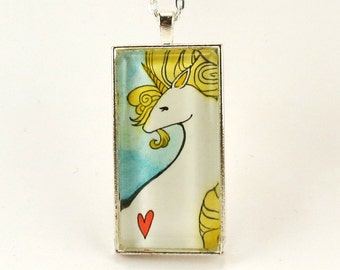 Unicorn Necklace, Glass Art Pendant, Gold Unicorn Watercolor Painting Jewelry