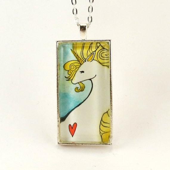 Unicorn Necklace, Glass Art Pendant, Gold Unicorn Watercolor Painting Jewelry