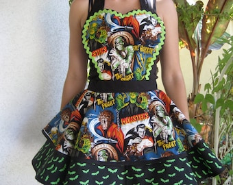 A Batty Halloween Apron With Monsters