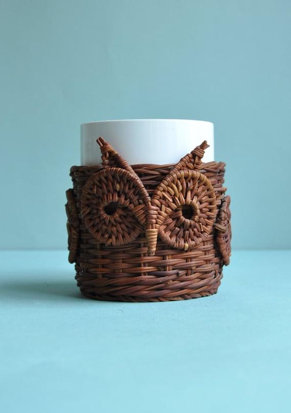 HOLD FOR NAMU - Retro Wicker Owl Mug