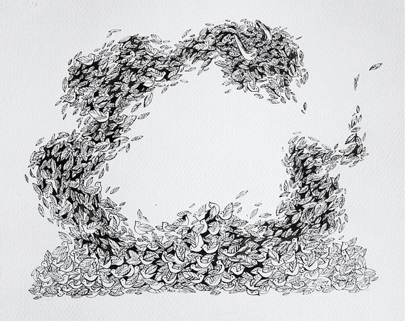 Silly Little Birds, Original Ink Drawing, 2012.