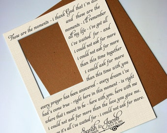 Custom Photo Mat - I Could Not Ask For More - any Wedding song lyrics personalized with your Names - 11x14 for your 5x7 photo - No frame