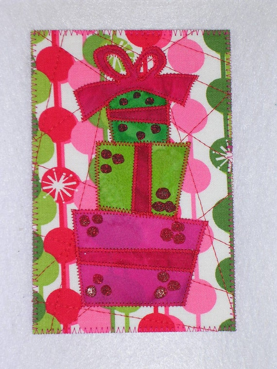 Christmas   Quilted Appliqued Fabric Postcard   SALE 5.00 each.  A small gift in a card.