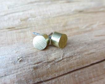 Minimalist Earrings Brass Stud Earrings Minimalist Jewelry Design