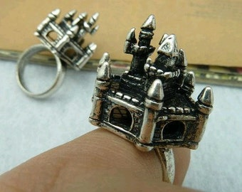 2pcs 17mm Castle Silver color Cameo Cabochon Base Setting Rings C2699