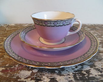 Vintage Teacup Tea Cup Belmont Adderley's Bone China Tea Cup Purple and Black Dots