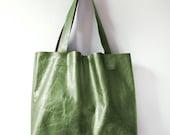 O L I V E Metallic Leather Tote. Essential Tote. Leather Market Tote. Army Green Tote