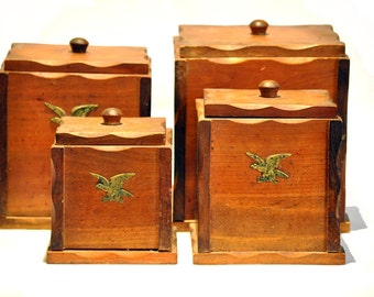 Vintage Wooden Stacking Box Set Rustic Eagle Western Set of 4 sandalwood Boxes