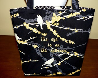 Embroidered Hymn (Spiritual) Tote - His eye is on the Sparrow- MADE TO ORDER