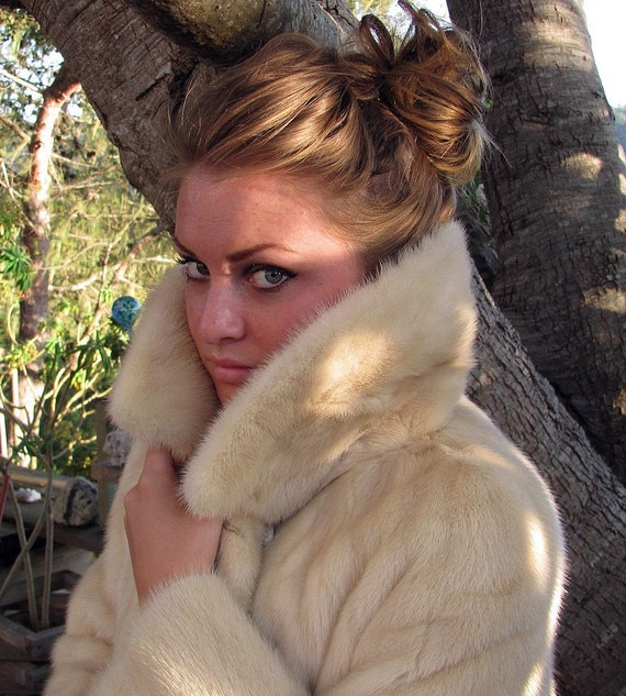 On HOLD for Maison - Tourmaline Cream Mink Stroller Coat by Green's Furs - Treasury Item
