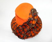 vintage jack mcconnell boutique hat // orange - rust  with colorful feathers // rare