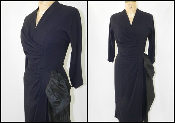 vintage 1940s black rayon hourglass cocktail dress with waterfall train