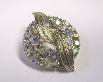 Vintage Layered Round Crystal Rhinestone Brooch, Ab Finish In Gold Tone Metal