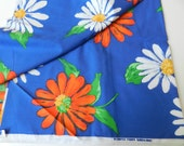 Vintage Cobalt Blue White Orange Daisies Fabric Cotton Blend Bright Summer Colors 2 yards