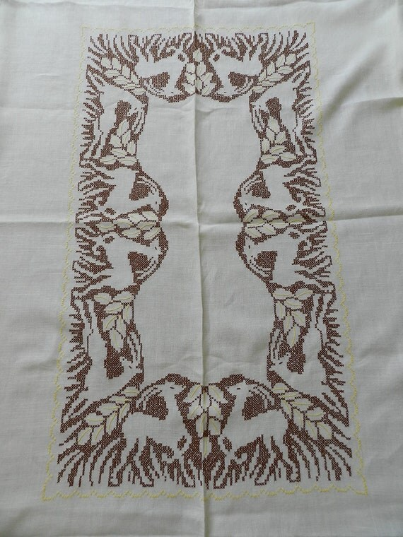 Vintage Ivory White with Brown and Yellow Cross Stitch Deer Elk Impala Motif Tablecloth with 8 Napkins
