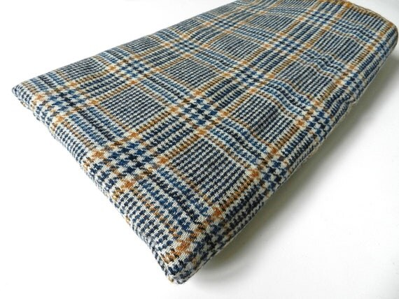 Vintage Blue and Caramel Brown Houndstooth Plaid Wool Fabric 1 yard plus