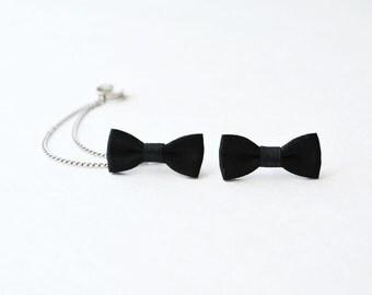 Black Bow Silver Chain Ear Cuff