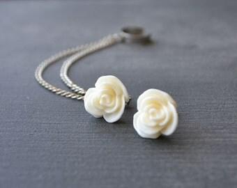 Antiqued Cream Rose Double Chain Ear Cuff (Pair)