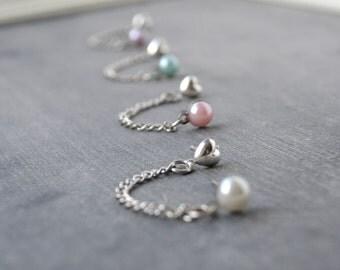 Pearl Double Lobe Pierce Earrings (Set of 2)