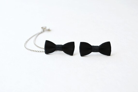 Black Bow Silver Chain Ear Cuff
