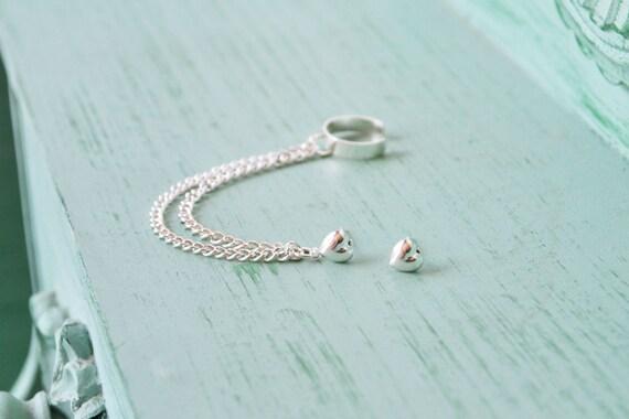 Silver Heart Double Chain Ear Cuff (Pair)