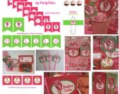 Strawberry Shortcake Printable birthday party Personalized Collection cupcake toppers favors tags Water bottle Food Sweet  labels banners